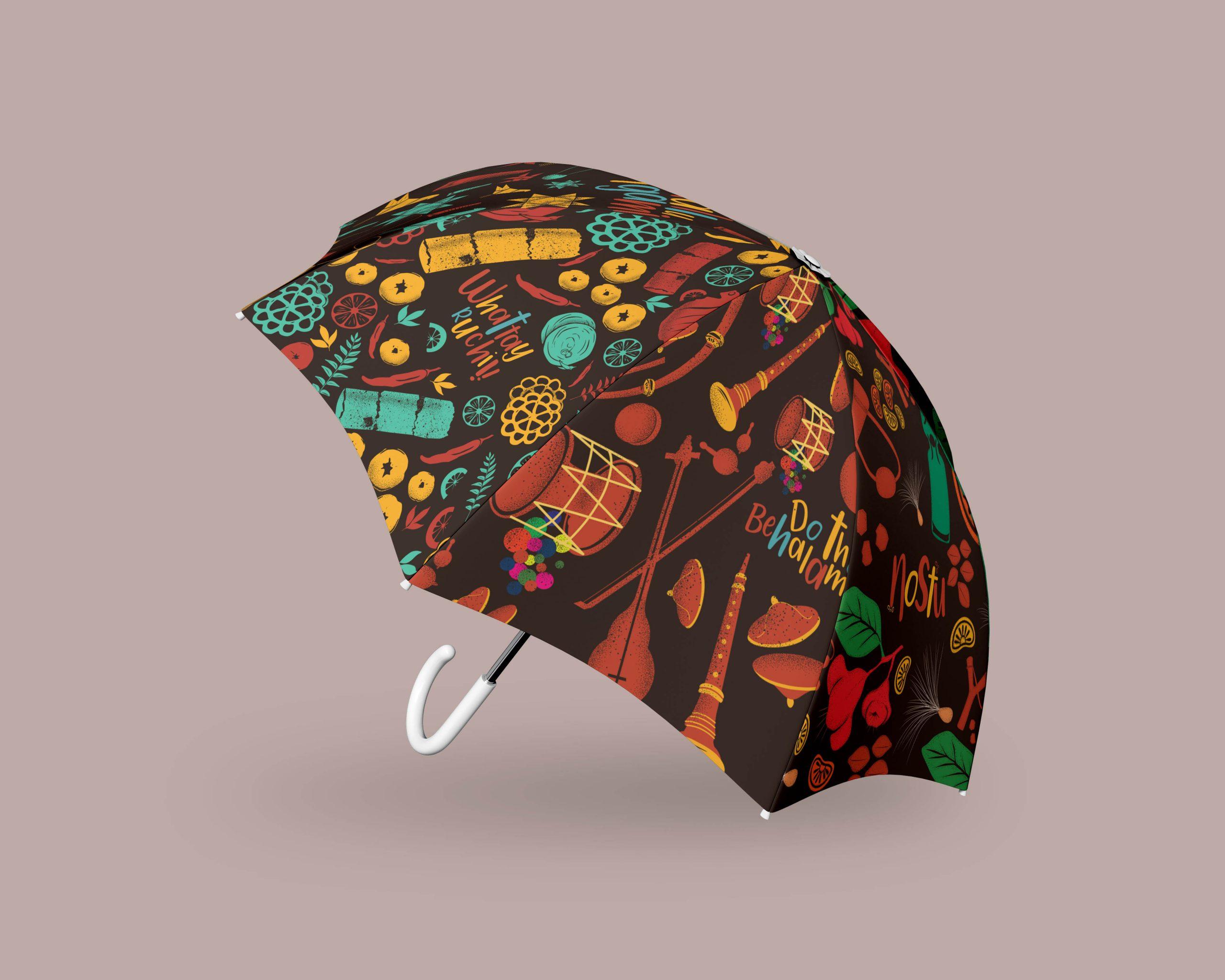 Monsoon Art Umbrella for Zee Keralam | Umbrella mock-up 4 by Stark Communications Pvt Ltd